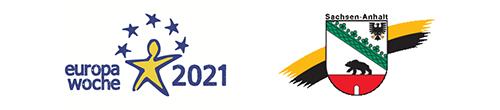 Logo Europawoche 2021 und Land Sachsen-Anhalt.